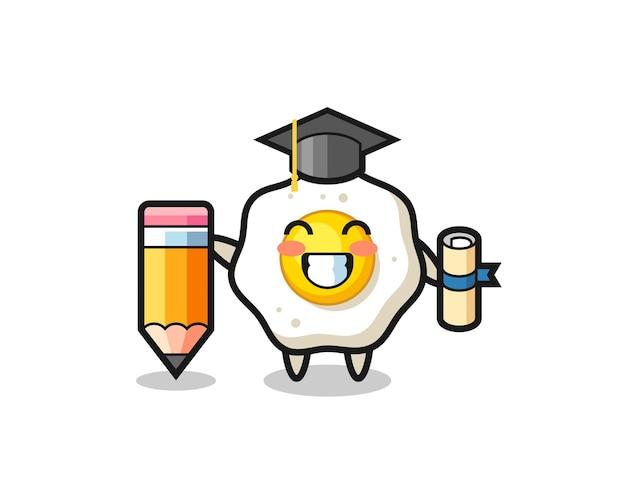 Desenho de ilustração de ovo frito é a graduação com um lápis gigante, design de estilo fofo para camiseta, adesivo, elemento de logotipo