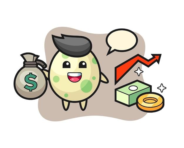Desenho de ilustração de ovo manchado segurando um saco de dinheiro, design de estilo fofo para camiseta, adesivo, elemento de logotipo