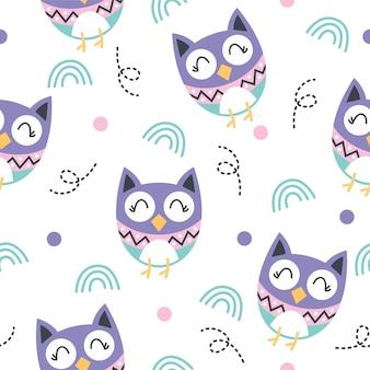 Desenho de ilustração de padrão de coruja pequena fofa
