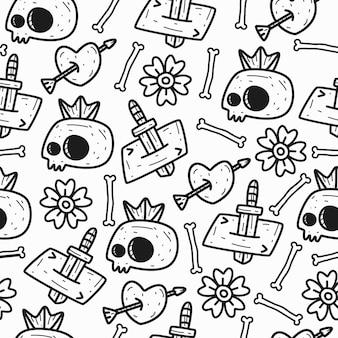 Desenho de ilustração de padrão de crânio de doodle desenhado à mão