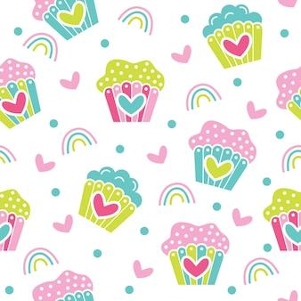 Desenho de ilustração de padrão de cupcake fofo