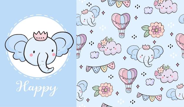 Desenho de ilustração de padrão sem emenda de elefante fofo