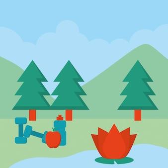 Desenho de ilustração de paisagem