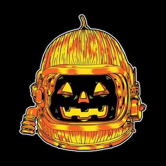 Desenho de ilustração de personagem de abóbora de halloween com capacete de astronauta em fundo preto