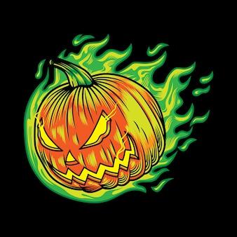 Desenho de ilustração de personagem de abóbora de halloween com chama de néon em fundo preto