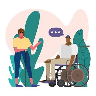 Desenho de ilustração de personagens cegos e em cadeira de rodas