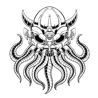 Desenho de ilustração de polvo mecha desenhado à mão em preto e branco