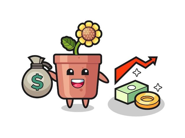 Desenho de ilustração de pote de girassol segurando um saco de dinheiro, design de estilo fofo para camiseta, adesivo, elemento de logotipo