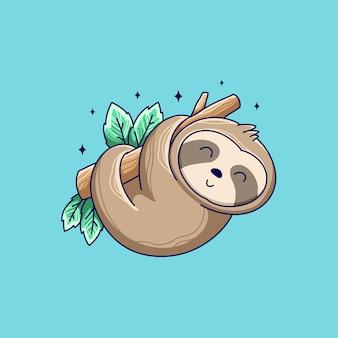 Desenho de ilustração de preguiça animal fofa