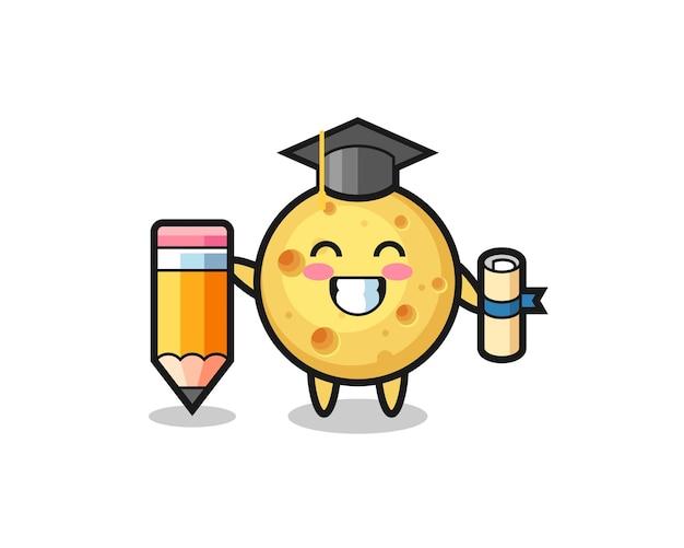 Desenho de ilustração de queijo redondo é a graduação com um lápis gigante, design de estilo fofo para camiseta, adesivo, elemento de logotipo