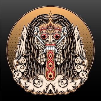 Desenho de ilustração de rangda bali tradicional