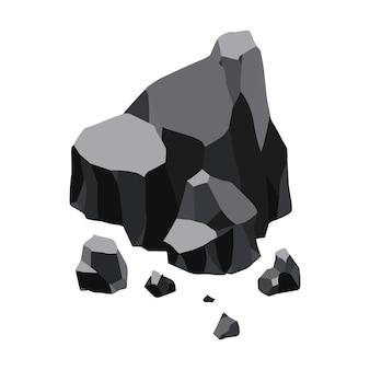 Desenho de ilustração de recursos minerais de negro de carvão