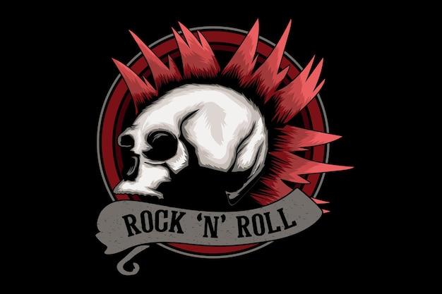 Desenho de ilustração de rock and roll com caveira