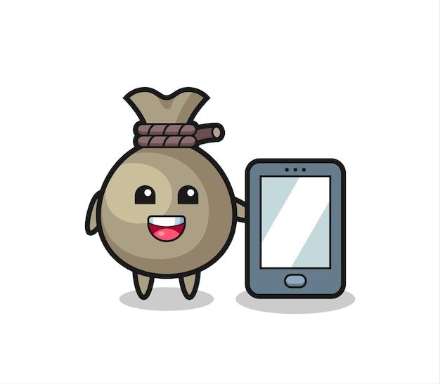 Desenho de ilustração de saco de dinheiro segurando um smartphone, design de estilo fofo para camiseta, adesivo, elemento de logotipo