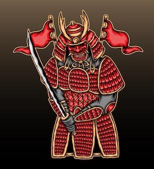 Desenho de ilustração de samurai vermelho