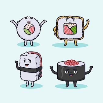 Desenho de ilustração de sushi kawaii fofo