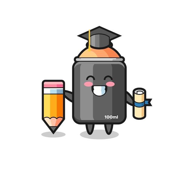 Desenho de ilustração de tinta spray é a graduação com um lápis gigante, design de estilo fofo para camiseta, adesivo, elemento de logotipo