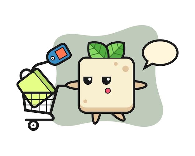 Desenho de ilustração de tofu com um carrinho de compras, design de estilo bonito para camiseta