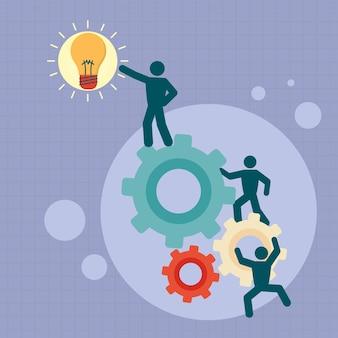 Desenho de ilustração de trabalho em equipe e coaching