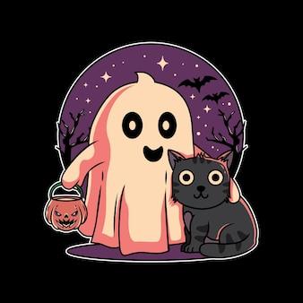 Desenho de ilustração de um gato fofo e fantasma do festival de halloween com estilo plano desenhado à mão