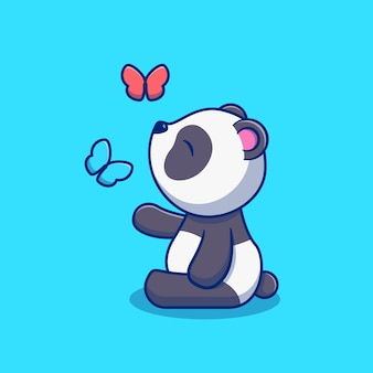Desenho de ilustração de um panda fofo com borboletas