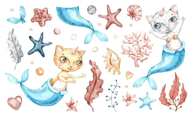 Desenho de ilustração de unicórnio-sereia gato