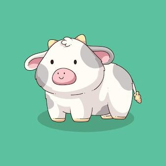 Desenho de ilustração de vaca fofa desenhada à mão