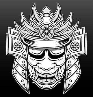 Desenho de ilustração desenhada à mão de samurai japonês legal
