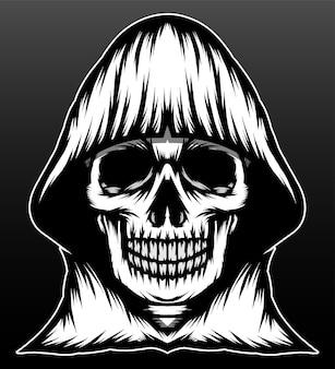 Desenho de ilustração desenhada à mão para ceifador de crânio preto