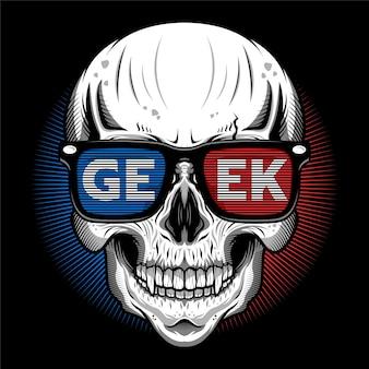 Desenho de ilustração detalhada de cabeça de crânio com óculos 3d