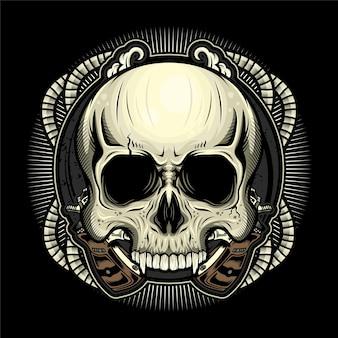 Desenho de ilustração detalhada de cabeça de crânio vintage