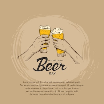 Desenho de ilustração do dia internacional da cerveja com a mão segurando um copo de cerveja
