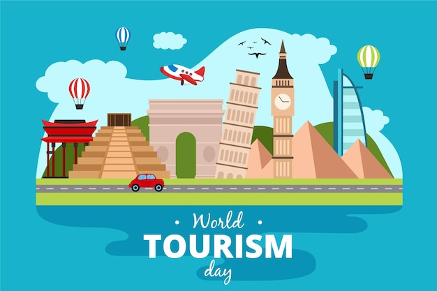 Desenho de ilustração do dia mundial do turismo