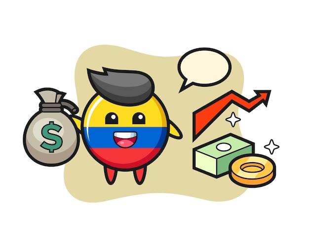 Desenho de ilustração do distintivo da bandeira da colômbia segurando um saco de dinheiro, design de estilo fofo para camiseta, adesivo, elemento de logotipo