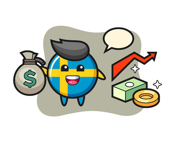 Desenho de ilustração do distintivo da bandeira da suécia segurando um saco de dinheiro, design de estilo fofo para camiseta, adesivo, elemento de logotipo
