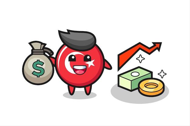 Desenho de ilustração do distintivo da bandeira da turquia segurando um saco de dinheiro, design de estilo fofo para camiseta, adesivo, elemento de logotipo