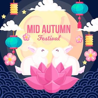 Desenho de ilustração do festival de meados do outono