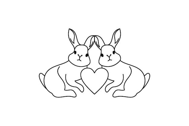 Desenho de ilustração do logotipo de amor de coelho. ilustração de coelho de estilo de linha