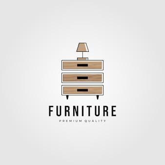 Desenho de ilustração do logotipo de madeira maciça de gaveta