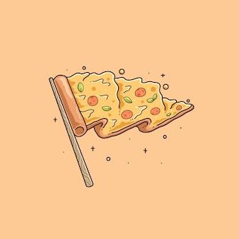 Desenho de ilustração fofa de bandeira de pizza