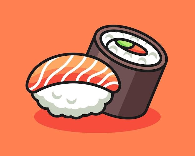 Desenho de ilustração fofa de sushi