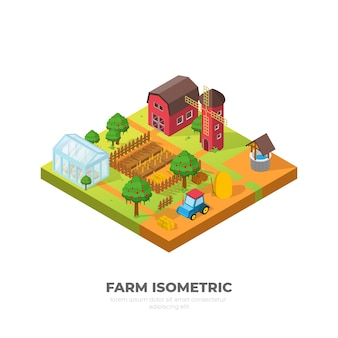 Desenho de ilustração isométrica de fazenda