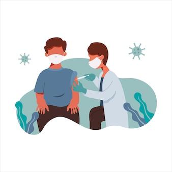 Desenho de ilustração médico injetando vacina em um paciente