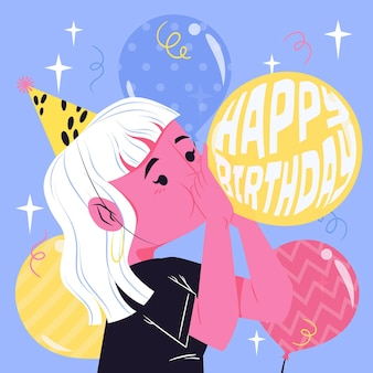 Desenho de ilustração plana de feliz aniversário