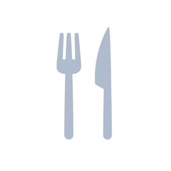 Desenho de ilustração plana de garfo e faca isolado