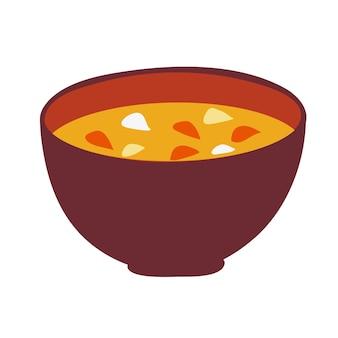 Desenho de ilustração plana de sopa de missô isolado