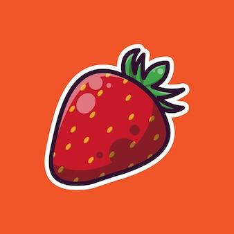 Desenho de ilustração simples de morango fruta