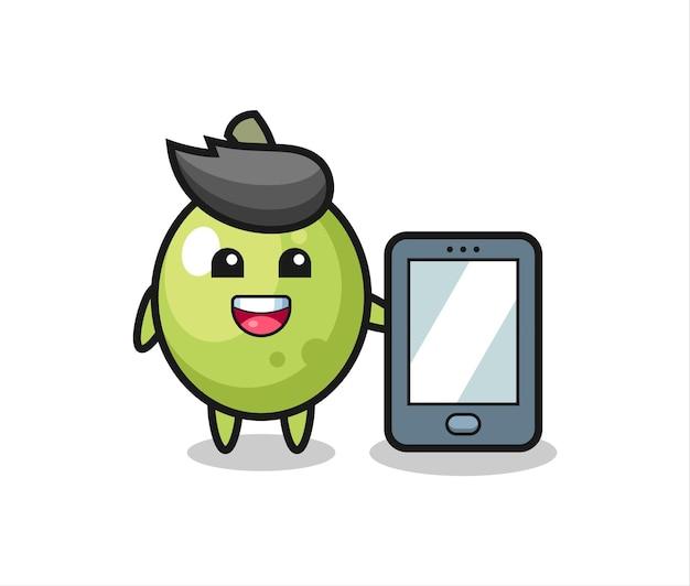 Desenho de ilustração verde-oliva segurando um smartphone, design de estilo fofo para camiseta, adesivo, elemento de logotipo
