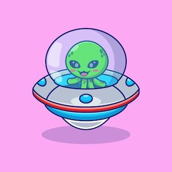 Desenho de ilustração vetorial alienígena cavalgando uma nave espacial ovni