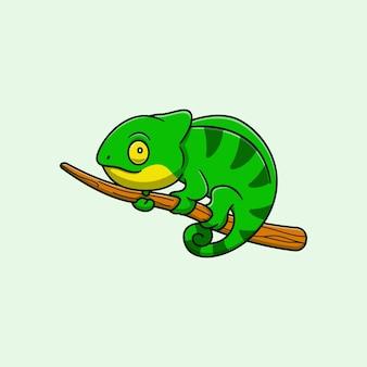 Desenho de ilustração vetorial animal camaleão nos galhos